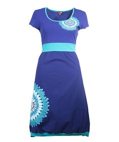 Take a look at this Coline Blue Medallion Fit & Flare Dress today!