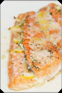 Roasted Lemon and Dill Salmon. So simple and delicious! We used dried dill vs. fresh dill and omitted the oil. Yum!
