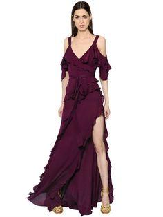 ELIE SAAB - RUFFLED CREPE GEORGETTE DRESS - DRESSES - BORDEAUX - LUISAVIAROMA