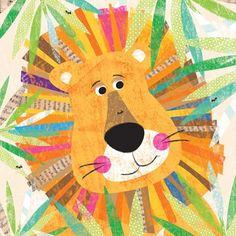 """Peeking Jungle Buddies - Lion"" Nursery Art by Liza Lewis for Oopsy Daisy sizes 14x14 $69 and 30x30 $189"