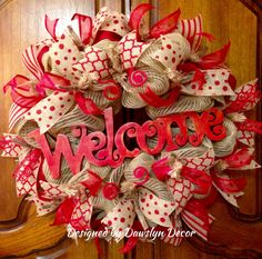 Gorgeous Red Welcome Everyday Wreath Valentine's Day Deco Mesh Wreath by Dawslyn Decor on Facebook & Etsy