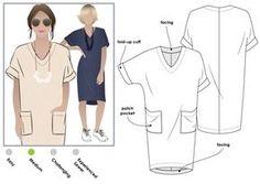 Adeline Dress - Style Arc Kokka blue 3 mins or telio twill or linen, erica tanov linen
