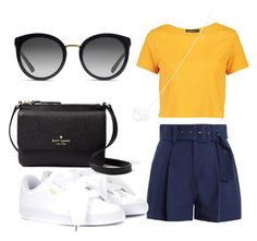 A fashion look from September 2017 featuring yellow t shirt, navy blue shorts and puma shoes. Browse and shop related looks. Yellow T Shirt, Navy Blue Shorts, Pumas Shoes, Boohoo, Kate Spade, Gucci, Fashion Looks, Sporty, Fancy