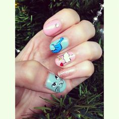 Nails ! #nailart #cutesy #quirky #dinosaur #cat #kitty #clouds #moon #crescent