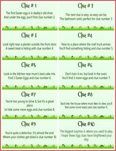 These free printable Easter Scavenger Hunt clues are SO much fun! Let the Easter Bunny lead your children on a super fun treasure hunt for their baskets using these cute scavenger hunt cards! Easter Riddles, Easter Games, Treasure Hunt For Kids, Treasure Hunt Clues, Easter Egg Hunt Clues, Easter Eggs, Easter Egg Hunt Ideas, Easter Table, Easter Ideas For Kids
