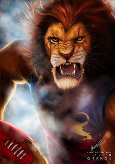 'The Furious Lion of Brisbane' Print By Grange Wallis Football Team Logos, Sports Logos, Lion Wallpaper, Fantasy Beasts, Lion Logo, The Dark Crystal, Creative Illustration, Lion Tattoo, Ancient Aliens