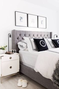 soft neutrals in the bedroom.