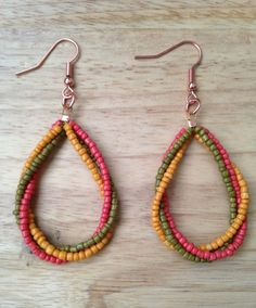 Handmade mustard/green/soft red seed bead loop earrings by Baebae Beads, $18.00 USD