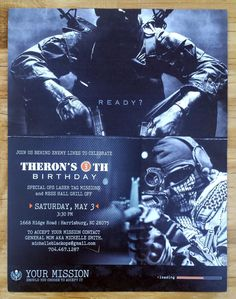 Call of Duty Birthday Party Invitations by foxtinvitations on Etsy