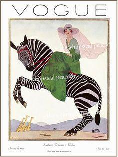 Art Print on SILK Vintage Magazine Cover from VOGUE 1926 | Etsy Vogue Vintage, Vintage Vogue Covers, Vintage Dior, Vintage Fashion, Photografy Art, Pinturas Art Deco, Vogue Magazine Covers, Women Poster, Zebra Decor