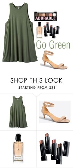 """Go Green"" by rowanstella-1 on Polyvore featuring RVCA, J.Crew, Giorgio Armani, Bobbi Brown Cosmetics and Charlotte Russe"