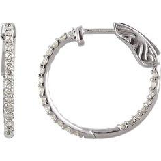 14k Gold 1/2 CTW Diamond Inside/Outside Hoop Earrings