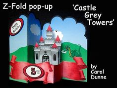 Z-Fold Castle Grey Towers by Carol Dunne A fun card with a grey castle which pops out when the card is opened. Easy to make with photographic instructions in the kit. Birthday number labels for ages 3- 10 years old are included.