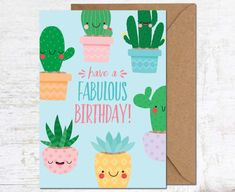 Cactus Card, Birthday Card, Birthday Card Friend, Birthday Card Funny, Cute Birthday Card, Succulent Card, Cacti Card, Birthday Card for her