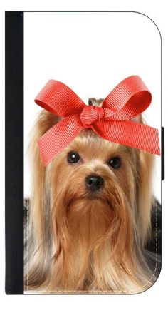 Yorkie with a Big Bow- Wallet Case for the Apple Iphone 6 PLUS only Universal with a Flap Cover and Magnetic Closing Flap-PU Leather and Suede. Fits the Iphone 6 PLUS only. High Quality Leather-Look Wallet Case with a flap cover and credit card slots. Bold, Clear and Everlasting Flat Image. Quick Shipping. Great customer service! Satisfaction Guaranteed!.