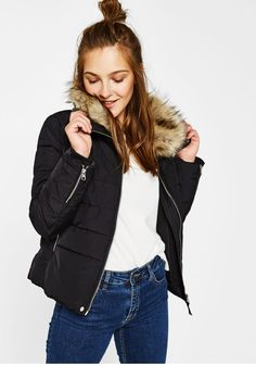 Puffer jacket with funnel collar - Coats - Bershka United Kingdom Puffy Jacket, Sewing Hacks, Bomber Jacket, Winter Jackets, Clothes For Women, Outfits, Fashion, Neckline, Women's Clothes