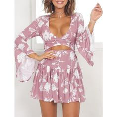 Pink XL Drop Waist Flared Sleeve Short Dress ($13) ❤ liked on Polyvore featuring dresses, short purple dresses, purple dress, purple mini dress, bell sleeve mini dress and drop waist dress