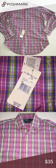 """Polo Ralph Lauren regent classic dress shirt 16 L You are looking at a really nice shirt from Polo by Ralph Lauren in a size l  It is 100% cotton New with tags  There are BUTTONS up the front to a collar.  Chest 48"""" Length 32"""" I'm happy to answer any questions. Polo by Ralph Lauren Shirts Dress Shirts"""