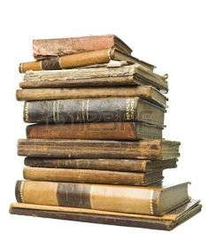 book spine: Stack of antique books isolated on white background Stock Photo