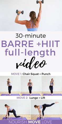 Get fit with this powerful 30 minute workout video featuring fat-scorching Barre and HIIT exercises! You'll love this at home workout video as a staple to your fitness routine. These powerful barre exercises and HIIT workout moves will strengthen and tone Pilates Training, Mental Training, Circuit Training, Ballerina Workout, Workout Hiit, Ballet Barre Workout, Leg Workouts, Barre At Home Workout, 4 Week Workout Plan