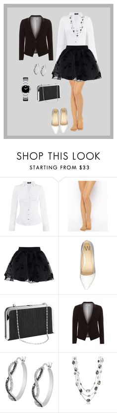 """""""Senza titolo #754"""" by liliana-vaccara ❤ liked on Polyvore featuring Morgan, Wolford, Chicwish, Wallis, Maglie I Blues, Jewel Exclusive, Swarovski and Movado"""