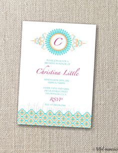 DIY Printable Invitation. Modern Moroccan Theme Invite. Customizable. totful memories. $15.00, via Etsy.