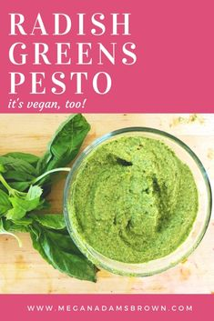 What to do with radish greens - don't toss them, make this nutrient-packed pesto instead. Vegetarian Pesto, Vegan Pesto Pasta, Pesto Pasta Recipes, Pesto Recipe, Radish Leaves Recipe, Radish Greens, Green Pesto, Greens Recipe, Eating Raw
