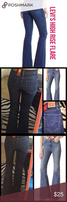 Levi's Women's High-Rise Flare Jeans 25X32 NWT Women's Levi's High-Rise Flare Jeans Product Details High-waisted, hip-hugging and flared, these women's Levi's slim-fitting jeans have definitive vintage style.  PRODUCT FEATURES Stretchy denim construction 5-pocket FIT & SIZING 32-in. inseam High rise sits at the natural waistline Flared leg cut Zipper fly FABRIC & CARE Highland Trail: cotton, elastane Blue Vibes: cotton, polyester, viscose, elastane Machine wash Imported Levi's Jeans Flare…