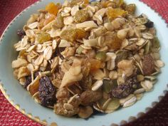 Slightly Sweet Granola with Mixed Dried Fruits, Nuts and Seeds on http://www.homemadelevity.com/slightly-sweet-granola-with-mixed-dried-fruits-nuts-and-seeds/