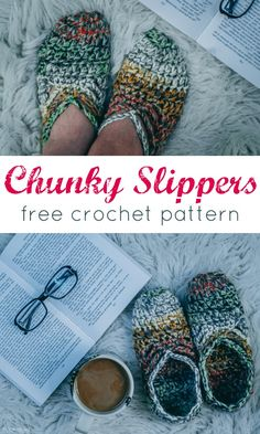 These chunky slippers are PERFECT to keep the chill off your feet! Easy, FAST and a free pattern! Use a different size yarn and these are perfect for kids also! via @ashlea729