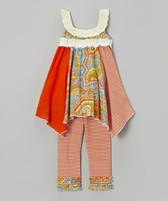 Take a look at this Rust Vintage Boho Handkerchief Dress & Leggings - Infant & Girls by Tralala on #zulily today!