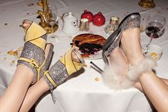"""papermagazine:Pie and shoes. Photo by Jessica Craig Martin, from """"Eat Your Heart Out,"""" Paper, 2011. (l-r) Shoes by Miu Miu and Gianvito Rossi for Altuzarra."""