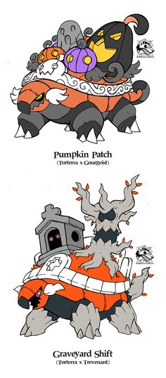 Spoopy time is upon us people!!! Autum is getting close and October is around the corner, so I tought it was better to start getting in the mood, and since everybody liked my Torterra variations/crossbreeds, I made a pair of halloween themed...