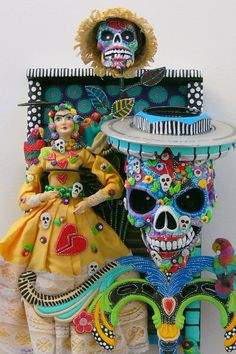 On Exhibit-RESERVED 4ART Inc Gallery   I Have A Monkey On My Back   Day Of The Dead. $1,200.00, via Etsy.