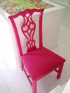 Just acquired plain wood chairs similar to this and had this EXACT idea in my mind... Mick was not happy when I suggested it.