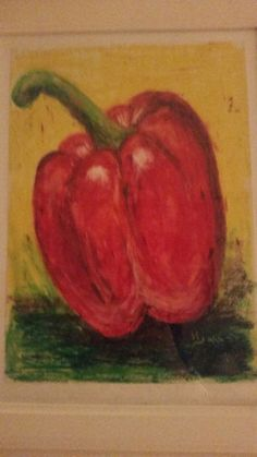 Red pepper. Oil pastels