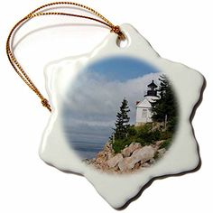 3dRose orn_60319_1 Acadia National Park Bass Harbor Head Snowflake Porcelain Ornament 3Inch >>> This is an Amazon Affiliate link. Be sure to check out this awesome product.