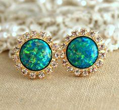 Emerald Green Opal stud earrings with white rhinestones by iloniti