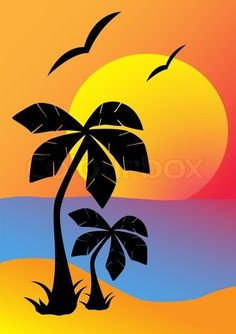 Vector of 'Silhouettes of palm trees against the setting sun Vector illustration'