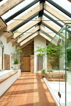 Triangular roof and open bathroom