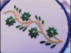 hand embroidery:borderline flower embroidery with two colore of beads. Zardozi Embroidery, Embroidery Neck Designs, Hand Embroidery Videos, Bead Embroidery Patterns, Hand Embroidery Flowers, Hand Work Embroidery, Creative Embroidery, Embroidery Transfers, Bead Embroidery Jewelry