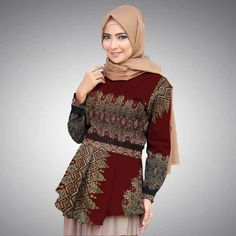 Model Blouse Batik Wanita Terbaru 2019 - Image Of Blouse and Pocket Model Dress Batik, Batik Dress, Blouse Batik Modern, Batik Muslim, Kebaya Dress, Batik Fashion, Blouse Models, Muslim Fashion, Hijab Fashion