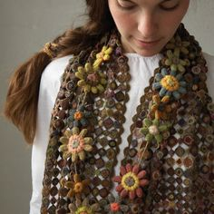 incredible scarf by the woman who designed the crocheted garments for Bright Star