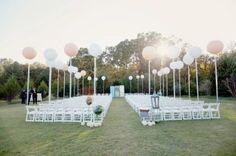 Outdoor ceremony with balloons  OHMAHGAHHH