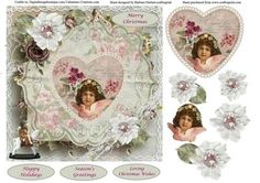 Angel Heart Christmas Topper Decoupage on Craftsuprint designed by Barbara Hiebert - This is a vintage angel on a Christmas Heart, with flowers, and decoupage.The sentiment tags say,Merry ChristmasHappy HolidaysSeason's GreetingLoving Christmas Wishes - Now available for download!