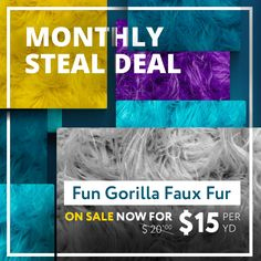 """""""MONTHLY STEAL DEAL"""" Have a fun Weekend with this Fun Gorilla Solid Long Pile Faux Fur 58 Inch!! On sale from $20.00 down to $15.00. A very high pile value, shaggy fur faux is great for crafts and costumes. #thefabricexchange #fabric #sale #fauxfur #highpile #shaggy #fur #fauxfur #fashion #DIY #cosplay #create #craft #sew #noSew #costumes"""