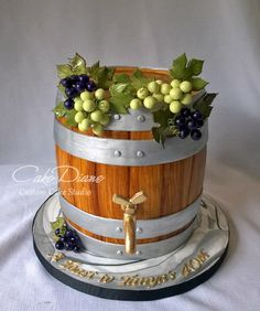 A wine barrel for a client who found me on CakeWrecks Sunday Sweets! All details made of fondant/gumpaste.