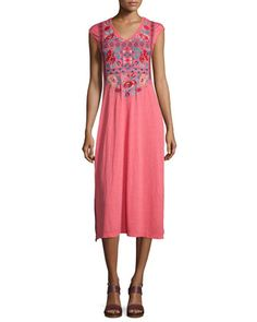Ophelle+Cap-Sleeve+Embroidered+Maxi+Dress+by+Johnny+Was+Collection+at+Neiman+Marcus.