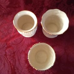 LENOX 3  Small Round Cream Color Vases with unique intricate patterns, gold rim