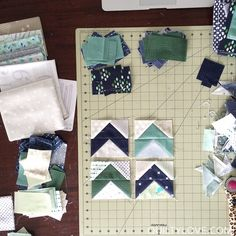 This quilt combines two elements that have been on my to-do quilting list: Low Volume fabric and Flying Geese arrows :) First I pulled all of my low volume fabric that I wanted to use. The low volume became my background. I went with my favorite colors for the arrows, navys and greens and a …